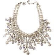 Vendome Faux Pearl Crystal Beaded Bib Necklace Vintage