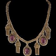 Victorian Revival 1930s Purple Glass Tassel Necklace Vintage