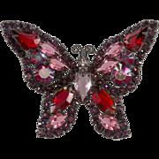Weiss Purple & Red Rhinestone Butterfly Brooch Pin