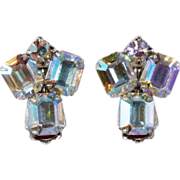 SALE Weiss 1950s Aurora Borealis Rhinestone Earrings