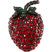 SALE Weiss Red Rhinestone Strawberry Fruit Pin
