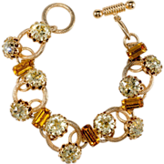 SALE Yellow Rhinestone Toggle Clasp Bracelet