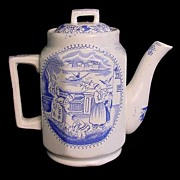 SALE Rare Childs Blue Transfer Teapot ~ FALCONER c1890