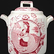 SALE Childs Red Transferware Biscuit Jar ~ Little May with Apron ~ Allerton