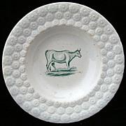 SALE Antique Pearlware Plate ~ Milk Cow 1840