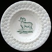 SALE Antique Pearlware Plate ~ Ram / Sheep 1840