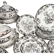 SALE Pearlware Miniature Botanical 35pc Dinner Service c1840 Morley Staffordshire