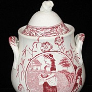SALE 19th C. Childs Red Transferware Biscuit Jar ~ Little May Apron Eggs