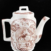 SALE Early Childs Brown Aesthetic Transferware Teapot ~ Girl with Newfoundland Dog