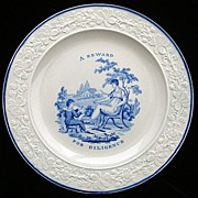 SALE Creamware Plate ~ A Reward for Diligence 1820