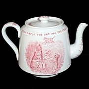 SALE CAT FIDDLE COW MOON Antique Childs Transfer Printed Nursery Rhymes TEAPOT c1888