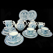 SALE Rare Childs 20pc Tea Set ~ Little Mae Girl Cat Dog Pets Allerton c1890