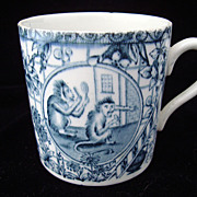 SALE 19th Century ABC Alphabet Mug ~ MONKEYS 1860