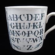 SALE Antique Alphabet Nursery Mug ~ Early Houseboats 1880