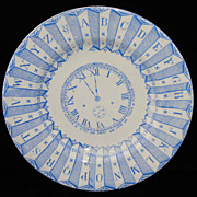 SALE Blue ABC Plate ~ Clock Numbers Calendar 1887