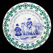SALE Toy Spongeware Spatter Transfer Child Horse Plate c1830 Staffordshire Rhyme
