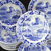 SALE Pearlware Childs 40pc Miniature Dinner Service MONASTERY Hackwood  Staffordshire 1830