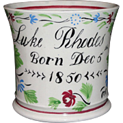 SALE Staffordshire Childs Adams Rose CHRISTENING CUP name LUKE RHODES dated Dec 5 1850