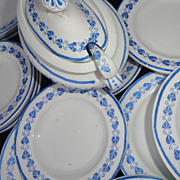 SALE Childs 40pc Dinner Set 1890 BLUE HEARTS Copeland Staffordshire LADLES