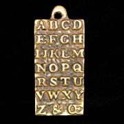 SOLD Rare Late 18th Century English Brass Horn Book Alphabet ABC Letters Teaching Aid