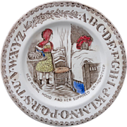 SALE Early Staffordshire ABC Plate ~ Red Riding Hood/Grandmother ~ 1880