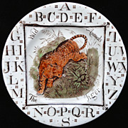 SALE Child's Staffordshire ABC Plate ~ The TIGER 1880