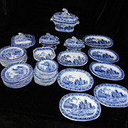 SALE Very Scarce Historical Staffordshire KITE FLIER Child 43pc Miniature Dinner Set