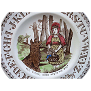 SALE Antique Nursery Alphabet Plate ~ Red Riding Hood Meets Wolf ~ 1880