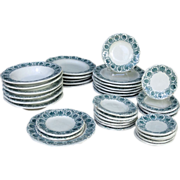SALE Childs Transfer Printed Miniature Dinner Set GREEN ACANTHUS Staffordshire England c. 1850