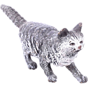 SOLD Antique Cold Painted Vienna Bronze Fluffy Cat with White Face c1900