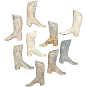 SOLD A Collection of Early American Stoneware Miniature Equestrian Boots Doll Shoes