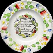 SALE Creamware Pratt Decorated Plate ~ Prepare Thyself~ 1830