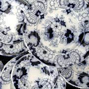 SALE Miniature FLOW BLUE DOGWOOD Rare Child's 35pc Dinner Service Minton Staffordshire England
