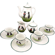 SOLD BLACK CATS Rare Childs Porcelain Tea Set German c1900 Bon jour Bonne nuit