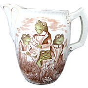 SOLD Extraordinary Polychrome Figural Ironstone Jug SINGING FROGS Staffordshire England c.1860