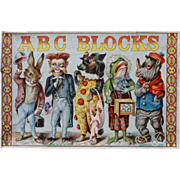 SALE Victorian Paper Litho ABC Blocks Illustrated Alphabet in Original Box c1880