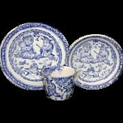 SALE PUNCH & JUDY 1890 Flow Blue 3pc CHILDS TEA SET TRIO Frog Allerton Staffordshire