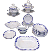 SALE Rare English Childs Blue Edge Ironstone Dinner Set Charles Meigh 1825