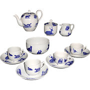 SALE Childs Flow Blue Transferware Tea Set ANIMALS  Copeland late Spode Stoke-on-Trent England
