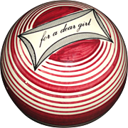 SOLD Scottish Ceramic Carpet Ball FOR A DEAR GIRL Red Concentric Stripes