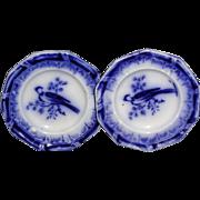 SALE 2x Flow Blue Miniature Toy Dinner Plate c1840 Asiatic Bird Staffordshire Meigh