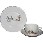 SOLD Palmer Cox BROWNIES Childs Ironstone Tea Set TRIO c1900 Taylor Smith Taylor USA