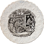SALE Staffordshire Childs Plate AESOPS FABLES ~ THE BEAR & THE BEE HIVES c. 1835