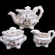 SALE Rare Childs Pearlware Tea Set 1835 FLOWER BOUQUET Hackwood Staffordshire Brown
