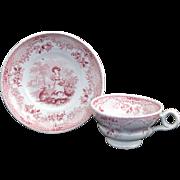 SALE Miniature Pearlware Transferware  Childs Cup & Saucer Set  JUVENILE ~ RABBITS  Wood & Bro