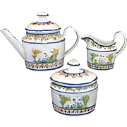 SALE Extremely Rare Miniature Pratt Relief Decorated Pearlware Tea Set c1800