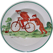 SALE Rare Wedgwood Daisy Makeig-Jones Miniature Toy Cup Plate BROWNIES c1913 Bicycle Frog