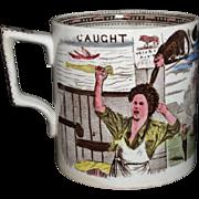 SALE Brown Staffordshire Cider Mug Tankard MONKEY MISCHIEF CAUGHT Scotland 1890