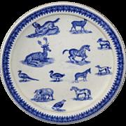 SALE 1890 Copeland Childs ANIMALS Feeding Dish Zebra Sheep Dog Critters Staffordshire