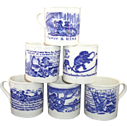 SALE Set of 6 FLOW BLUE ABC CHILDS MUGS Nursery School Stories Rhymes Staffordshire